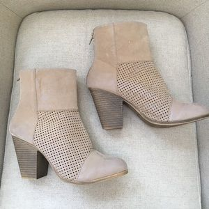Tan Suede Feel Laser Cut Ankle Bootie Heels
